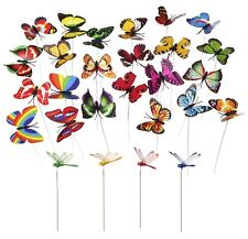 24 PCS Butterfly & Dragonfly Stakes Outdoor Yard Garden Flower Pot Decoration