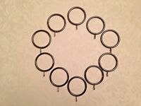 10 x Large Black Nickel Iron Metal Curtain Rings to fit 25mm to 40mm Pole Rod