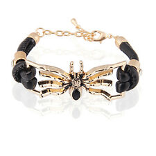 Black PU Leather & Gold Spider Front Charm Wrap Bracelet Bangle BB83