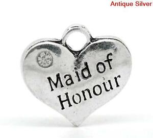 5 ANTIQUE SILVER MAID OF HONOUR RHINESTONE HEART CHARM~WEDDING PARTY~CRAFT(5)