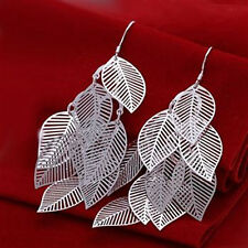 Wholesale discount solid925 sterling silver jewelry many hollow leaf Earring