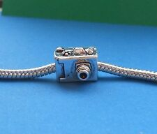 2 CAMERA European Charm Spacer Bead Back Viewfinder Photographer Gift Ships Free