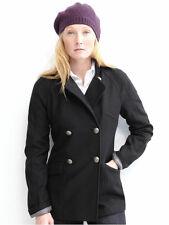-NEW Banana Republic Black Italian Wool Double Breasted Jacket Coat Peacoat M