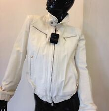Giacca giubbotto in pelle nappa Violanti genuine white leather jacket camoscio
