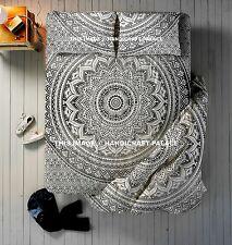 Ombre Mandala Print Cotton Quilt Indian Queen Duvet Set With Bed Sheet & Pillow