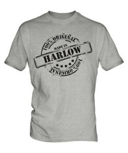 MADE IN HARLOW MENS T-SHIRT GIFT CHRISTMAS BIRTHDAY 18TH 30TH 40TH 50TH 60TH