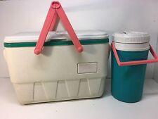 Vintage Igloo Cooler Picnic Basket 90s Retro 25qt w/1 Gal Water Jug Pink & Teal