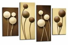 Abstract Floral Wall Art Brown Cream Grey Flower Print 4 Panel Canvas Picture