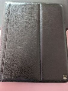 """Black Real Leather Folio Case for 10""""-12"""" Tablet or iPad (Check Sizes)"""