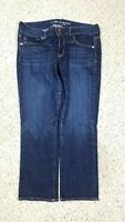 American Eagle Women's Artist Crop Stretch Dark Distressed Wash Blue Jeans Sz 12
