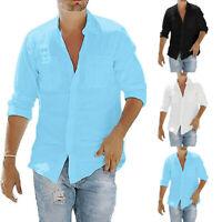 Men's Retro Cotton Linen T-Shirts Pocket Solid Color Long Sleeve Tops Blouse Hot