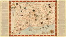Connecticut Tercentenary 1635 - 1935 1950 pictorial map POSTER 46099