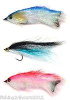 3pcs Bass Trout Salmon Steelhead Pike Fly Fishing Streamer Flies Shad NEW