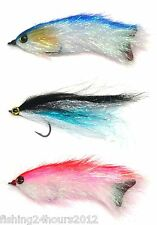 3pcs Bass Trout Salmon Steelhead Pike Fly Fishing Streamer Flies Shad NEW