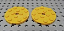 Lego Yellow Round Plate 4 X 4 with Hole Lot of Two +New+