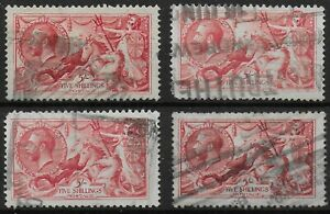 SG416 (x4).  1919-5s.Rose-Red. Good Used With Perf.Faults. Cat.£540.  Ref.1178