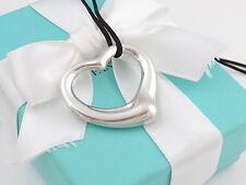 "Tiffany & Co Silver Extra Large Open Heart Peretti Necklace Black Cord Box 18.5"""
