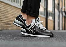 New Balance 574 Black Leather Shoes Men's Size 9.5 ML574LPK $100