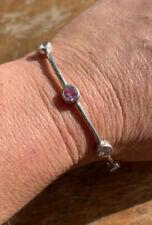 Vintage, Sterling Silver, Pink & White Stone, Full Eternity Bangle Bracelet.
