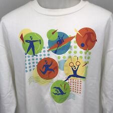 Abstract Sports Archery Soccer Swimming Vintage 90s Mens L-XL Sweatshirt 50/50