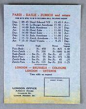 IMPERIAL AIRWAYS VINTAGE AIRLINE TIMETABLE PARIS - BASLE - ZURICH