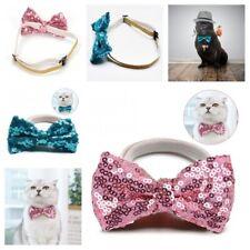 Adjustable Pet Bowties Collar Elastic Sequin Christmas Cat Dog Clothes Supplies