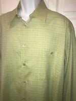 Ermenegildo Zegna ITALY Green Grid Plaid Casual Dress Shirt Sz XXL Pocket EUC