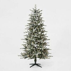 7ft Pre-lit Artificial Christmas Tree Flocked Blue Green Balsam Fir Auto Connect