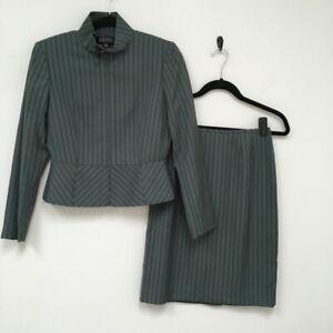Kasper Womens 2 Piece Skirt Suit Green Stripe Stretch Long Sleeve Petites 2P