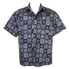 Thai Silk Shirt Modern Style Short Sleeve Men Black & Gray XL sd06dg