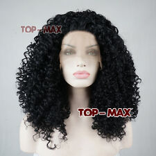 18 Inches Women Afro Kinky Curly Long Heat Resistant Black Lace Front Hair Wig