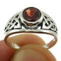Celtic Knot Stone Silver Ring, Mix-US-Size, w Garnet, 925 Solid Sterling Silver,