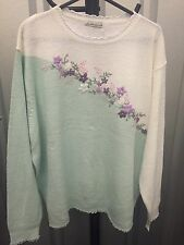 Florian Women Jumper White & Green Embroidered Plus Size 22-24 (7)