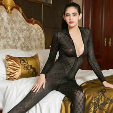 Lady Check Stretch Leotard Zip Sheer Crotchless Bodysuit Jumpsuit Catsuit Erotic