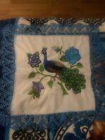 Mexican HANDMADE embroidered Napkin, Servilleta para Tortillas Peacock Pavo Real