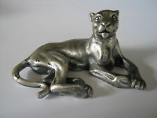 Vintage Peltro Pewter/ Metal-Lioness/Big Cat Figurine/Paperweight- Patina-Italy