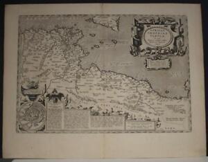 TUNISIA LIBYA ALGERIA 1590 ABRAHAM ORTELIUS UNUSUAL ANTIQUE COPPER ENGRAVED MAP