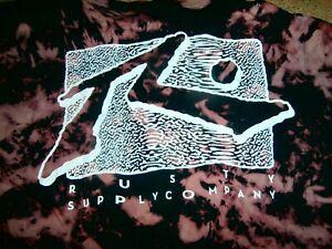RUSTY SUPPLY COMPANY  TIE DYE Mens SZ M 16 T-shirt BIG Logo Tee Surf Wear