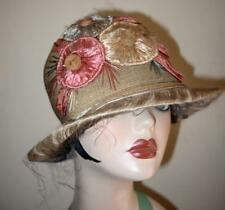 Authentic Vintage 1920's Straw and Floral Cloche Bucket Hat