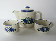 Vintage TEA POT WITH 2 CUPS MADE IN JAPAN Speckled with Blue Trim and Flowers