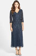 New PISARRO NIGHTS Beaded V Neck Mesh Dress Navy Blue 3/4 Sleeve Size 14 P