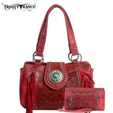 Montana West Trinity Ranch Concealed Carry Purse + Wallet ~ Tooled Leather ~ Red