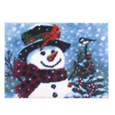 DIY Latch Hook Kit Craft about 20''*15'' Rug Cute Little Christmas Snowman AU