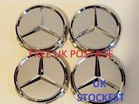 4x Mercedes Silver Alloy Wheel Centre Hub Caps 75mm A B C E S M Class ML CLA GLA