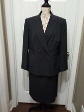 Emily 2pc Checked Stripe Grey/Purple Pin Stripes Skirt Suit Size 14W