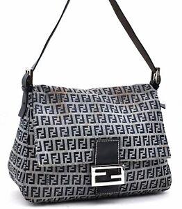 Auth FENDI Zucchino Mamma Baguette Shoulder Bag Canvas Leather Navy A3301