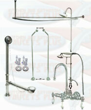 Chrome GooseNeck Clawfoot Tub Faucet Package Kit With Shower Curtain Surround