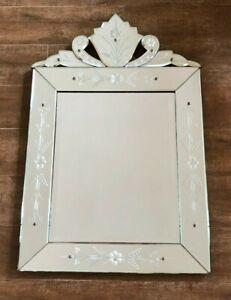 "Venetian Mirror Wall Mount etched 31 x 22"" glass floral bedroom bathroom vintage"