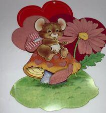 Valentines Diecut Flocked Heart Mouse Flower Vintage Red Pink Mushroom