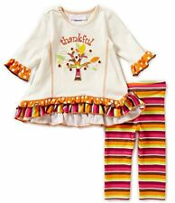Bonnie Baby Baby Girl Two-Piece Thanksgiving Thankful Top & Leggings Set  NEW
